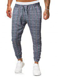 Casual Plaid Printed Drawstring Jogger Pants -