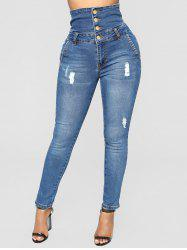 Zipper Fly Distressed Skinny Jeans -
