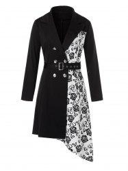 Plus Size Asymmetrical Flower Imprimer Belted Blazer Robe Lapel -