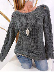 Plus Size Lace Up Raglan Sleeve Chunky Sweater -