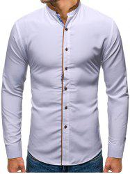 Solid Color Button Up Casual Long-sleeved Shirt -