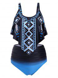 Overlay Flounces Printed Ombre High Waisted Plus Size Tankini Swimsuit -