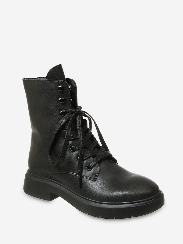 New Plain Lace Up PU Leather Fleece Boots