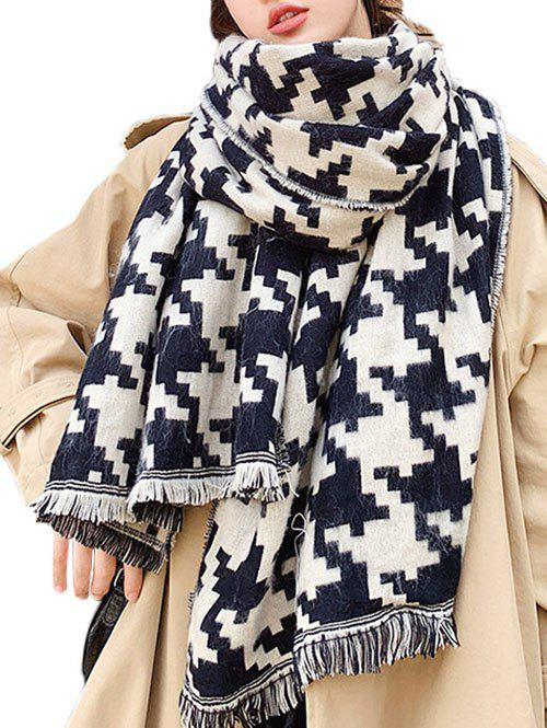 Sale Houndstooth Graphic Fringed Long Wrap Scarf