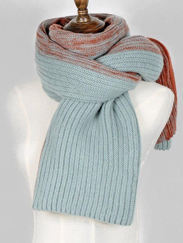 Trendy Contrast Long Knitted Wrap Scarf