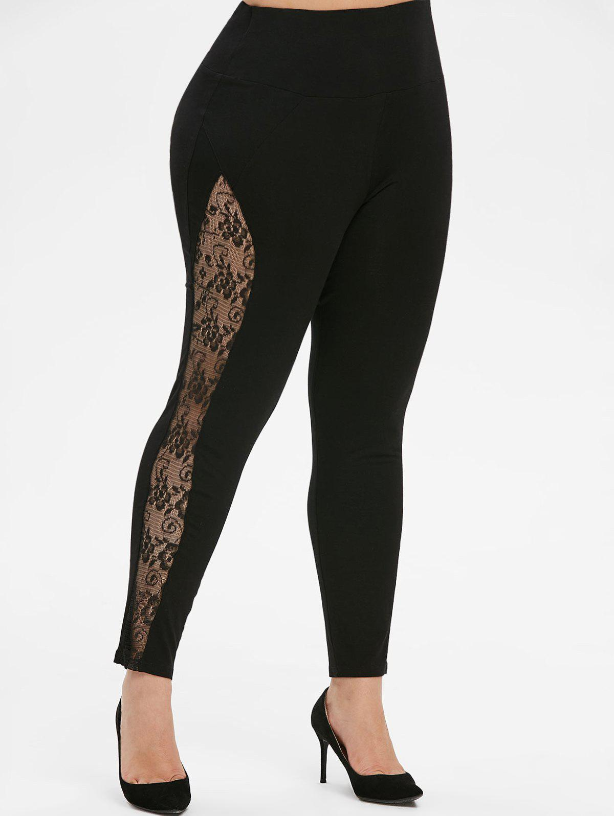 Hot Pull On High Waisted Lace Panel Plus Size Leggings