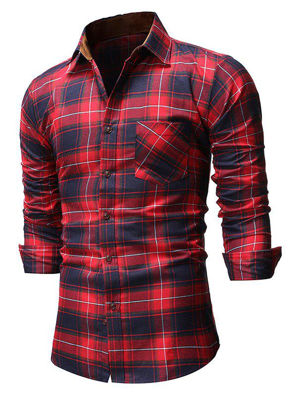 Plaid Pocket Design Bouton T-shirt Rouge Vineux L