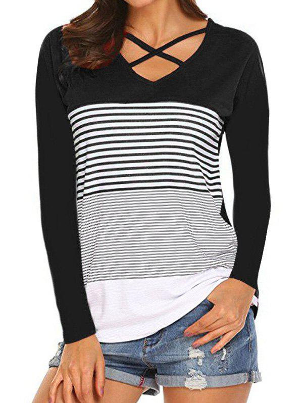 Store Striped Criss Cross Curved Hem Tee
