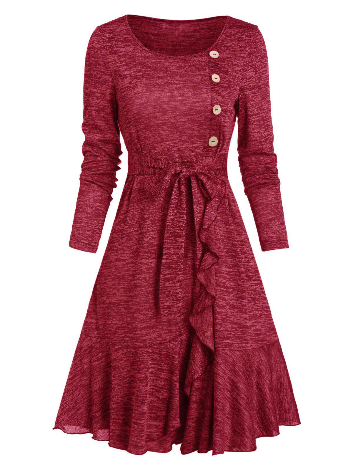 Trendy Mock Button Belted Ruffled Hem Dress