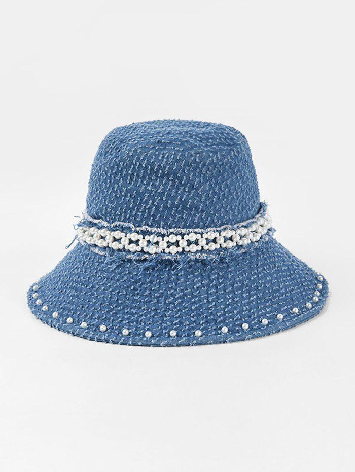 Fashion Floppy Pearls Jeans Hat