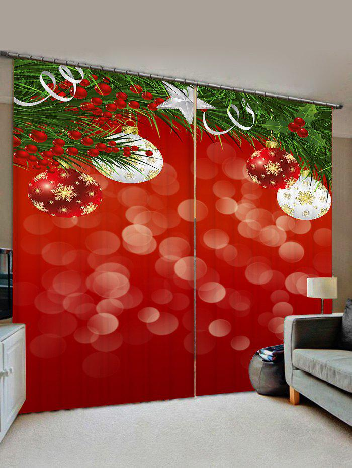 Cheap 2 Panels Christmas Tree Branch Balls Print Window Curtains