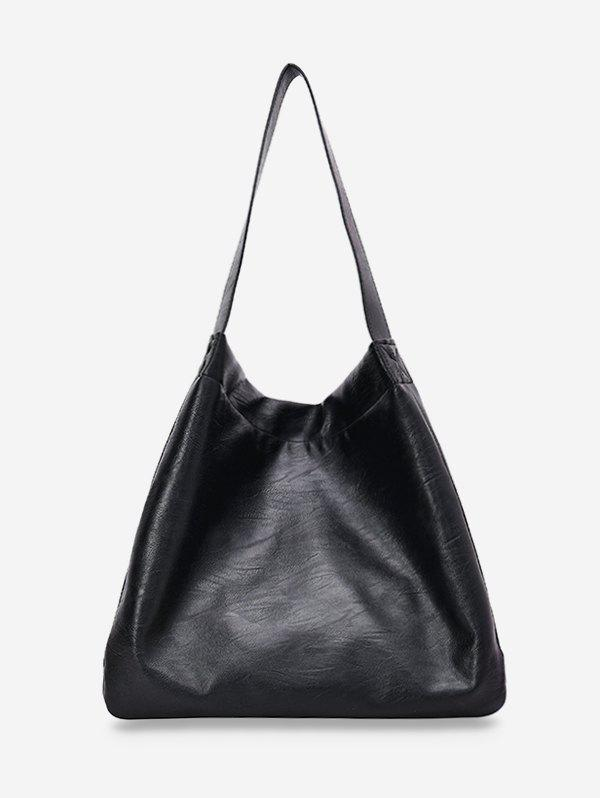 Discount Solid Big Soft Leather Shoulder Bag