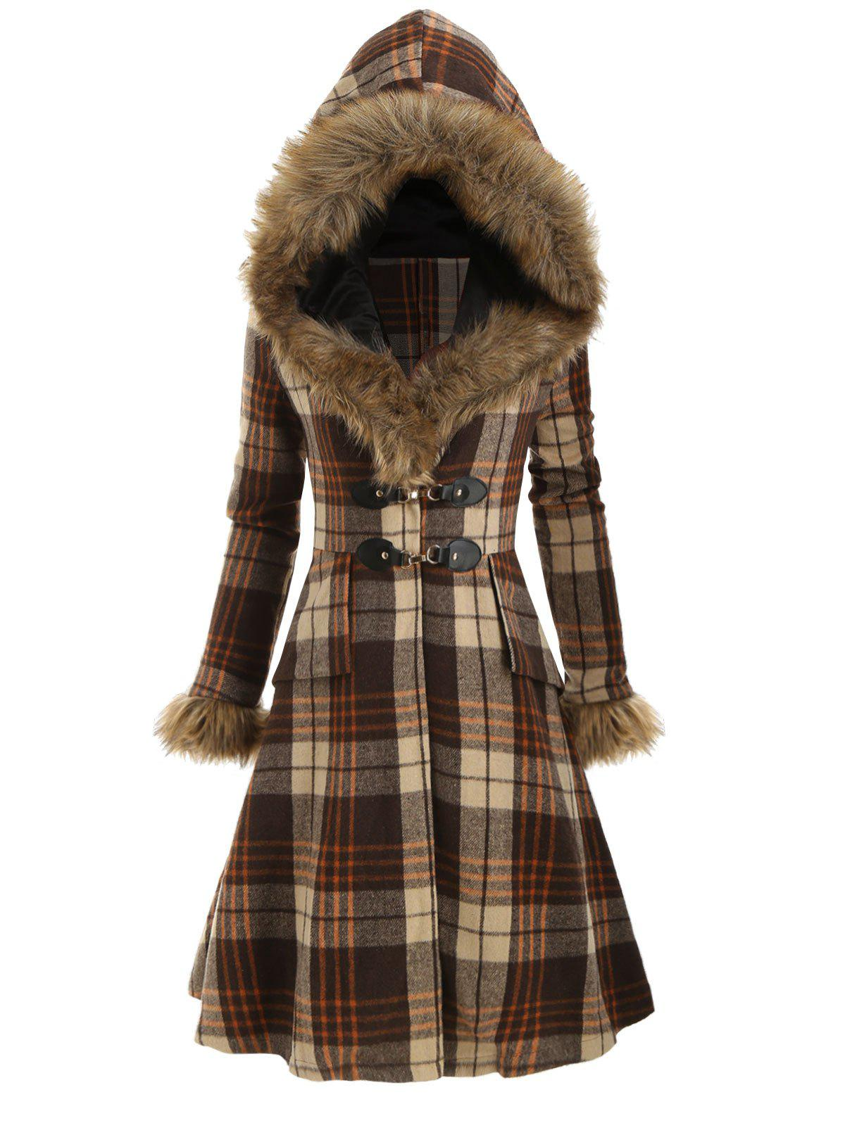 Sale Plaid Hooded Longline Coat