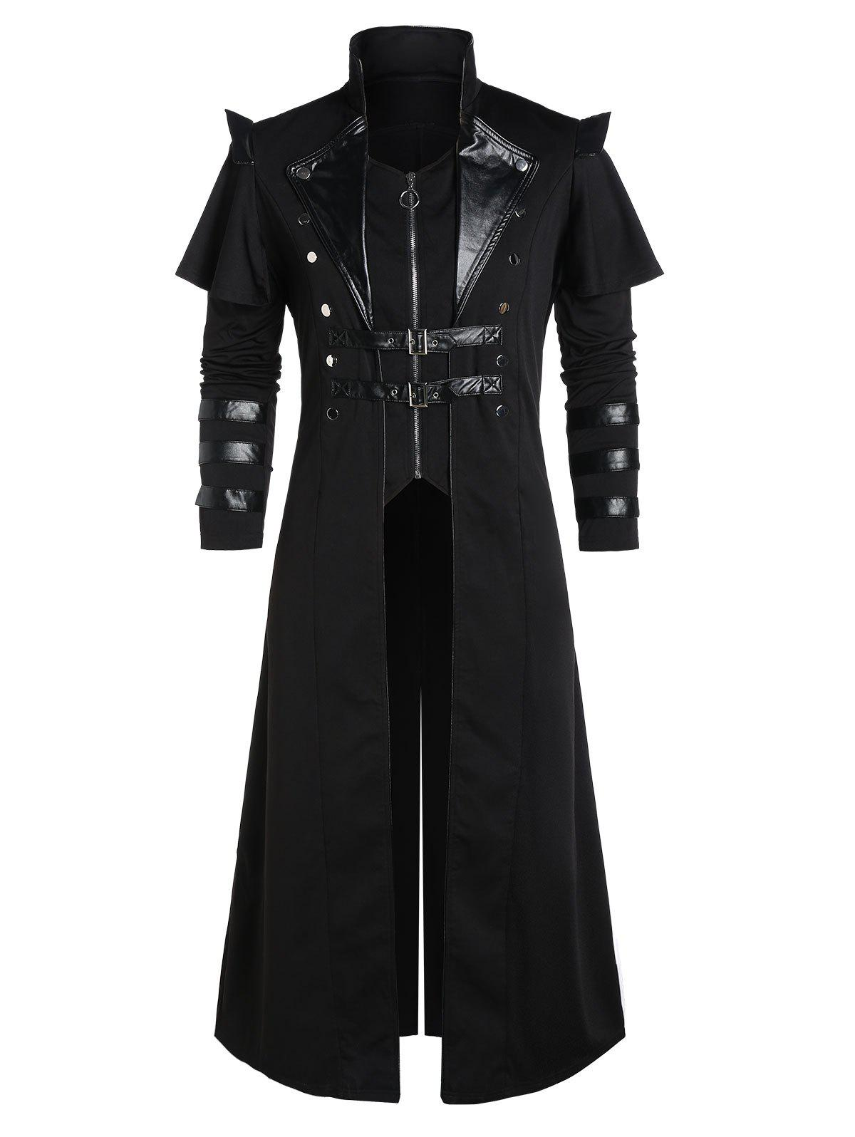 Buckle Strap Zip Up Back Slit Faux Twinset Coat фото