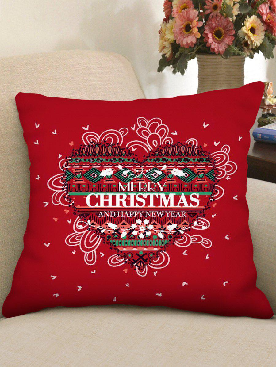 Store Merry Christmas Heart Pattern Pillow Cover