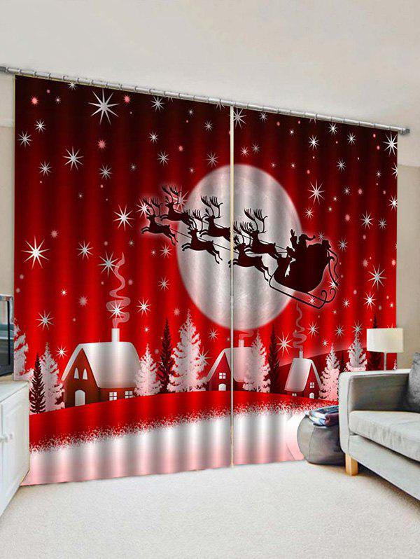 2 Panels Christmas Sleigh Moon Village Print Window Curtains фото