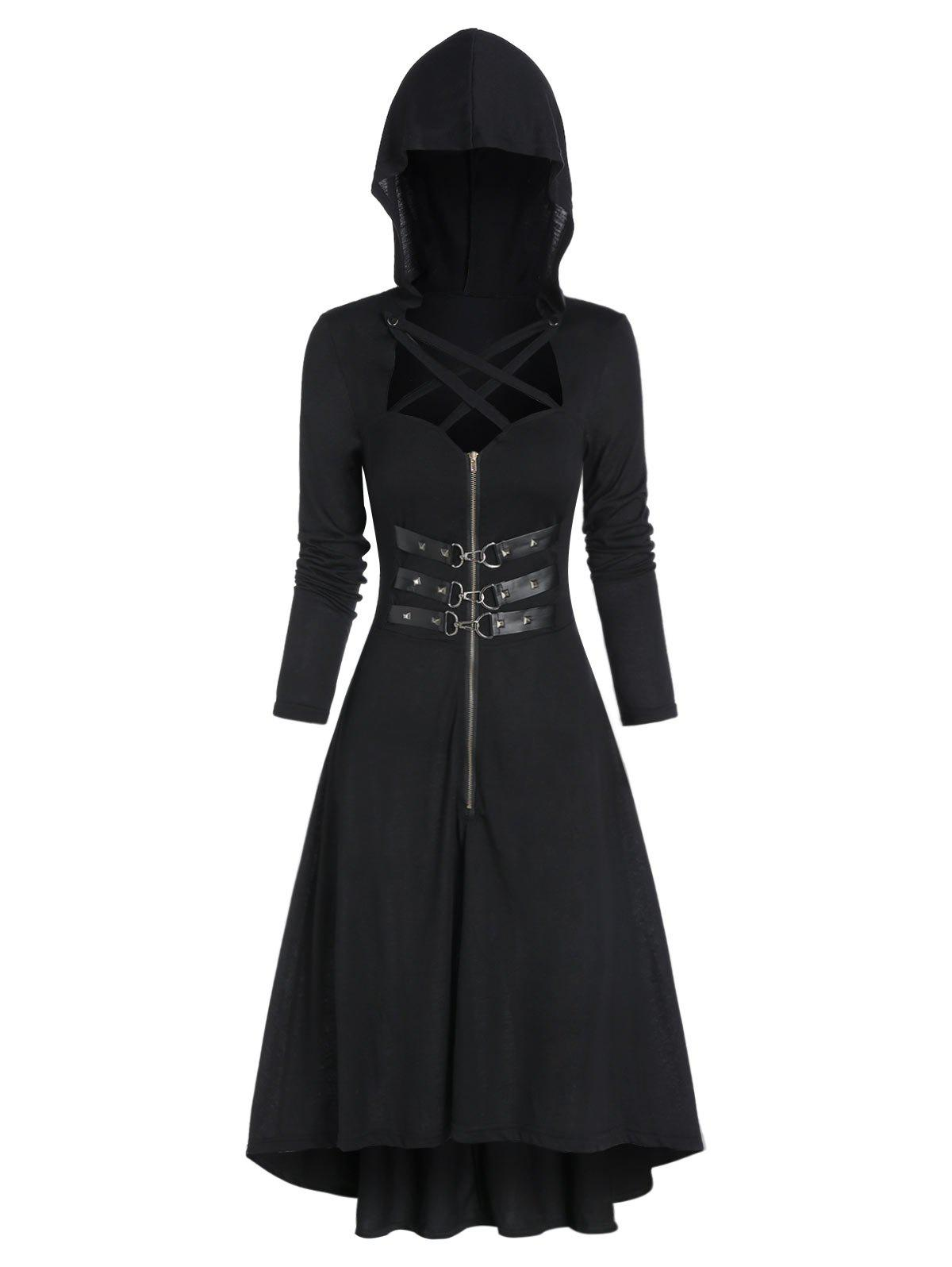Shops Hooded Strappy Lobster Buckle Strap High Low Gothic Dress