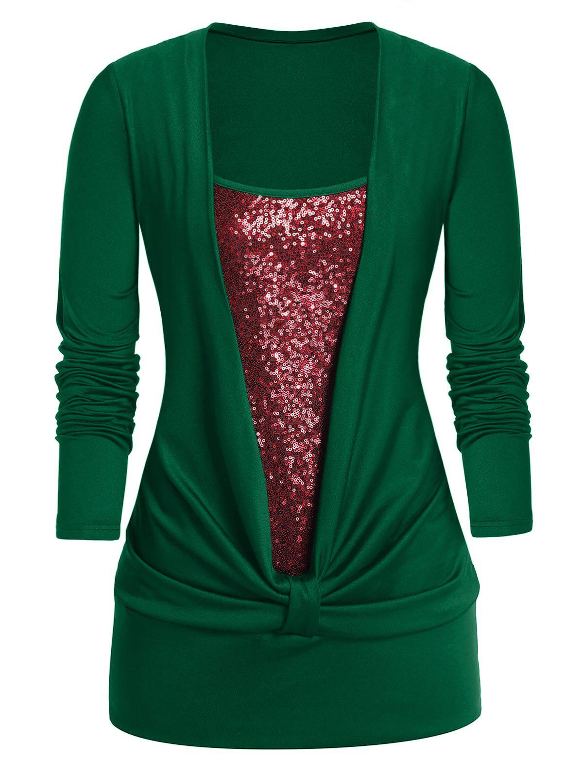Plus Size Sequined Long Sleeve Twist T Shirt фото