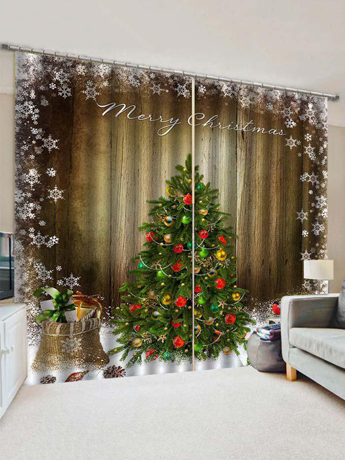 Unique 2 Panels Christmas Tree Snowflake Wood Grain Print Window Curtains