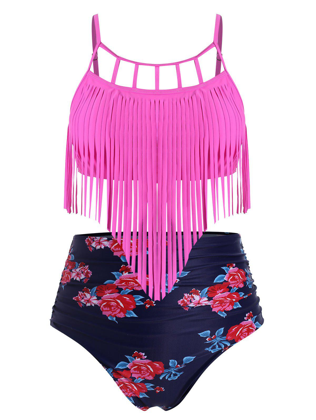 Ruched Fringed Floral High Waisted Plus Size Tankini Swimsuit, Rose red