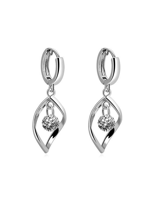Store Hollow Twist Zircon Drop Earrings