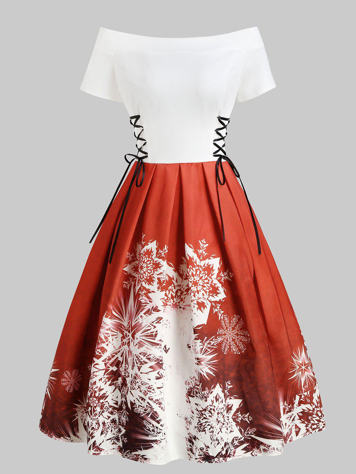 Outfit Christmas Off Shoulder Lace Up Snowflake Dress