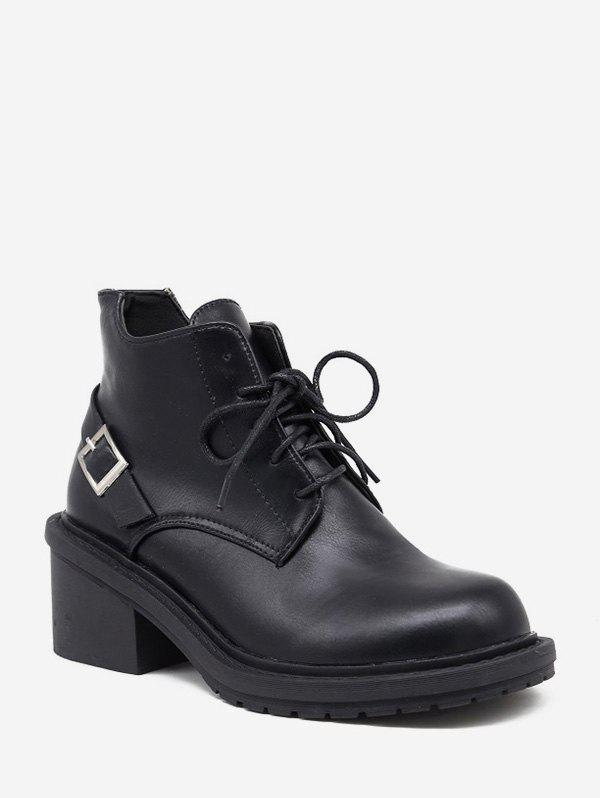 Unique Mid Block Heel Lace Up Ankle Boots