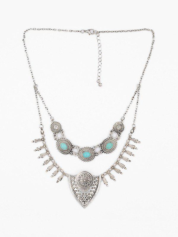 Cheap Bohemian Carved Turquoise Fringe Necklace