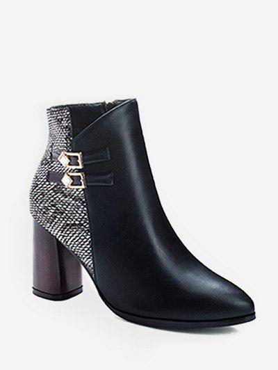 Fancy Snakeskin Panel Chunky Heel Pointed Toe Boots