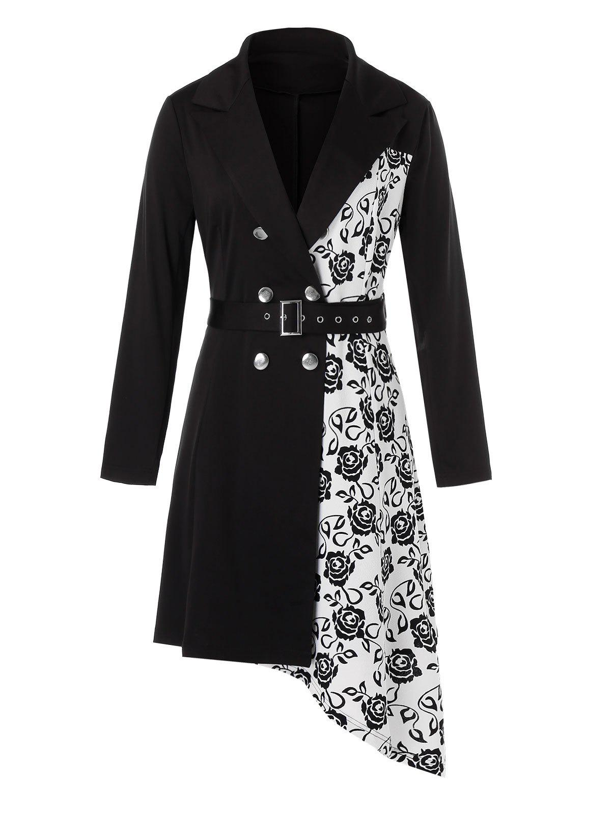 Plus Size Asymmetrical Flower Imprimer Belted Blazer Robe Lapel