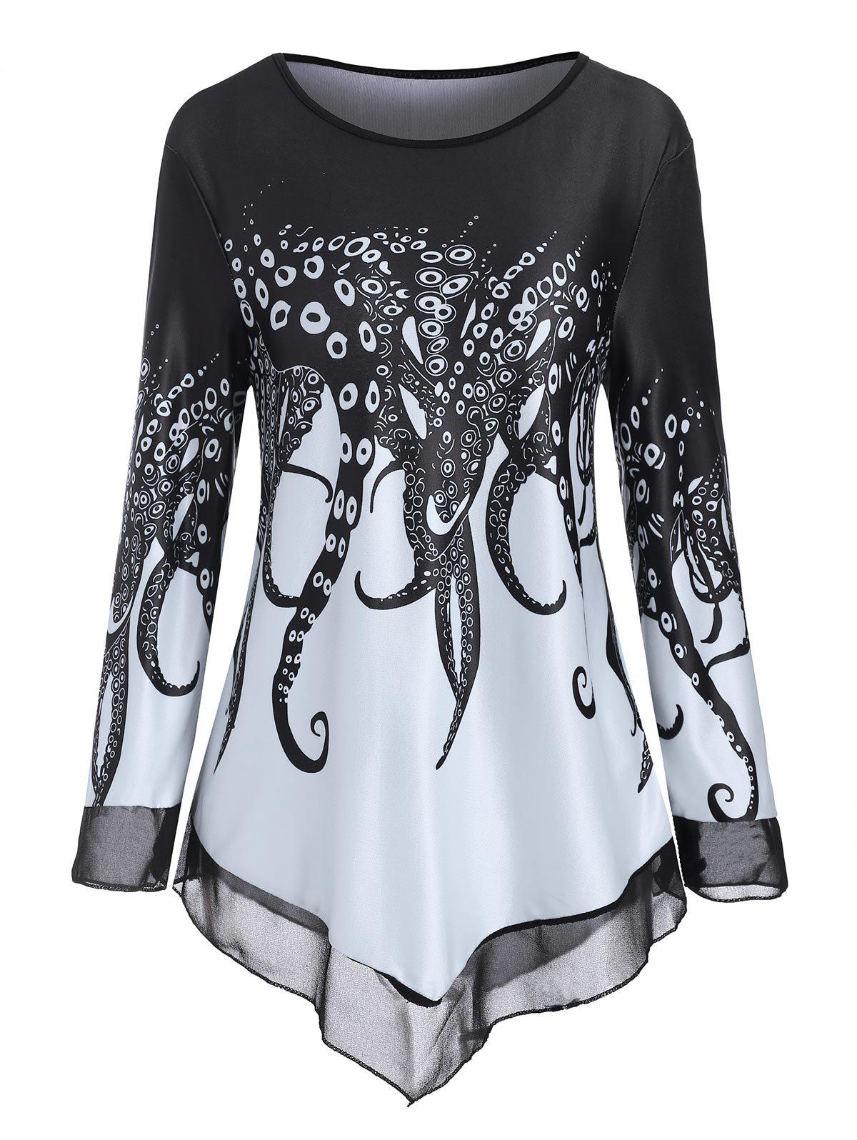 Store Octopus Tentacles Chiffon Panel Round Neck Tee