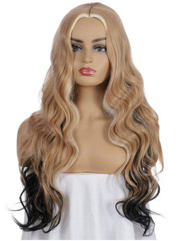 Synthetic Center Part Long Mixed Ombre Body Wave Wig