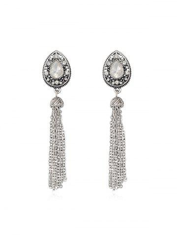 Ethnic Rhinestone Teardrop Tassel Dangle Earrings