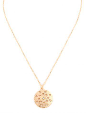 Hollow Star Round Pendant Necklace
