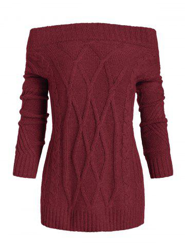 Off Shoulder Cable Knit Loose Sweater