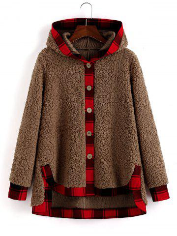 Plaid Trim Hooded Faux Shearling High Low Coat