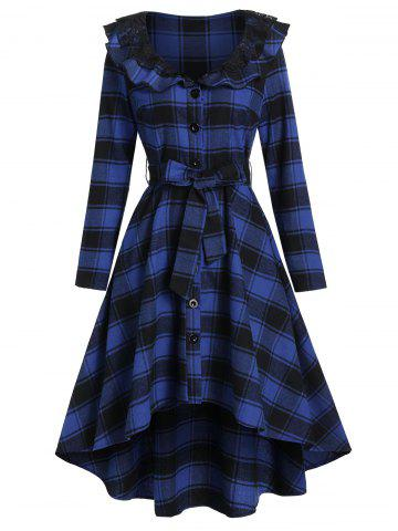 Plaid Print Belted High Low Shirt Dress