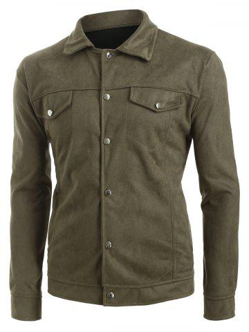 Solid Faux Flap Pocket Button Casual Jacket