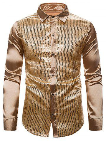 Sequins Panel Button Up Long Sleeve Shirt