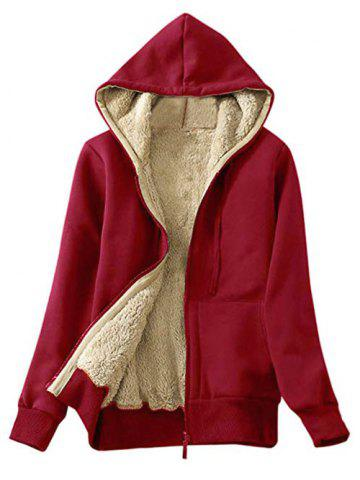 Hooded Faux Shearling Lining Front Pocket Jacket - CHERRY RED - S