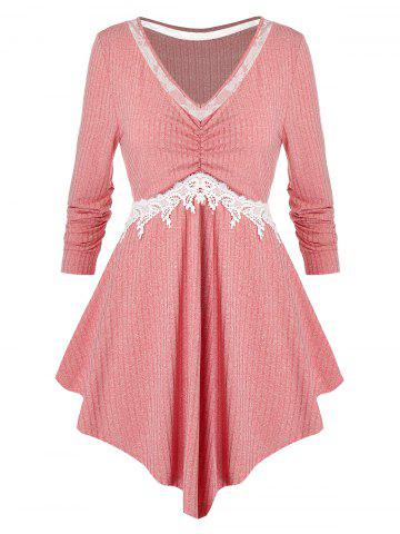 Plus Size Lace Panel Asymmetrical Tunic Knitted Tee - PINK - L