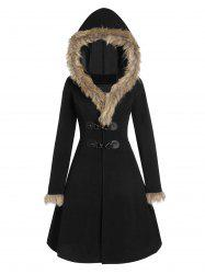 Faux Fur Hood Longline Coat -