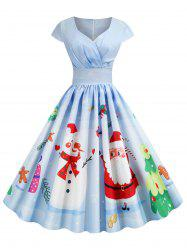 Pleated Christmas Santa Claus Elk Snowman Print Surplice Dress -