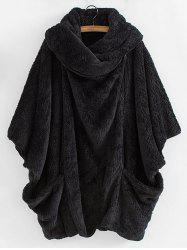 Shawl Collar Plush Dolman Coat -