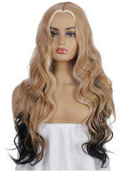 Synthetic Center Part Long Mixed Ombre Body Wave Wig -