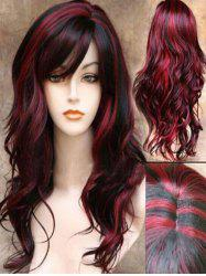 Synthetic Side Bang Long Body Wave Mixed Wig -