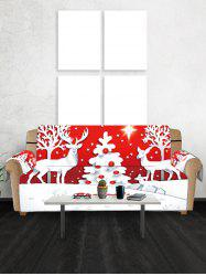 Christmas Tree Deer Greeting Pattern Couch Cover -