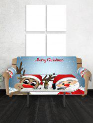 Christmas Santa Claus and Deer Pattern Couch Cover -