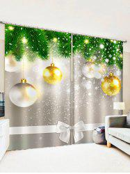2 Panels Christmas Tree Balls Bowknot Pattern Window Curtains -