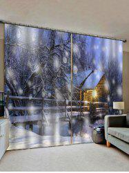 2 Panels Snowy Forest House Light Pattern Window Curtains -